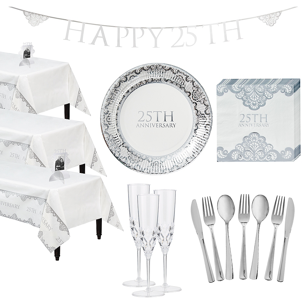 Metallic Silver 25th Anniversary Tableware Kit for 50 Guests Image #1