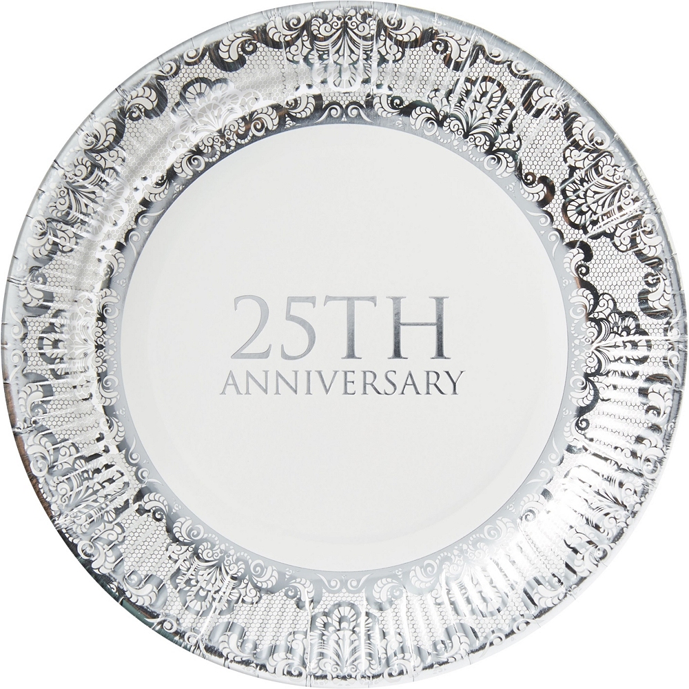 Metallic Silver 25th Anniversary Tableware Kit for 50 Guests Image #2