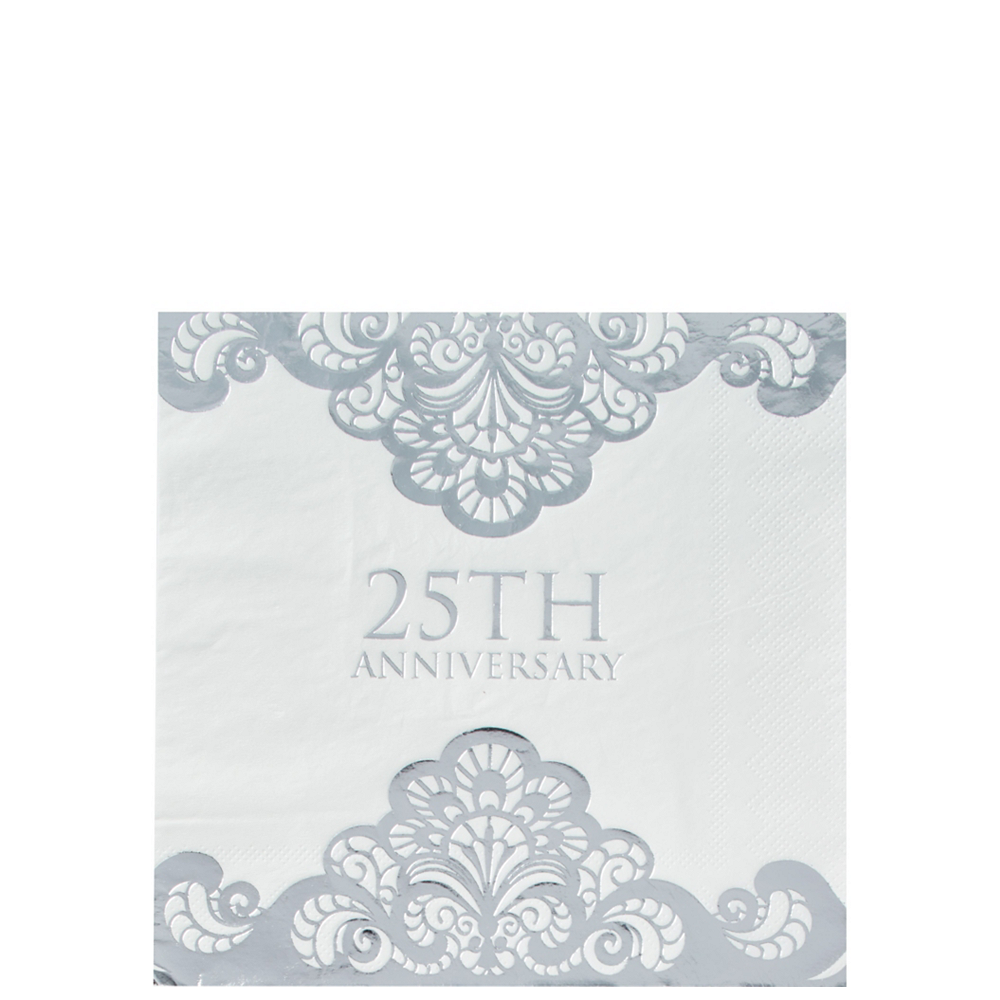 Metallic Silver 25th Anniversary Tableware Kit for 50 Guests Image #3