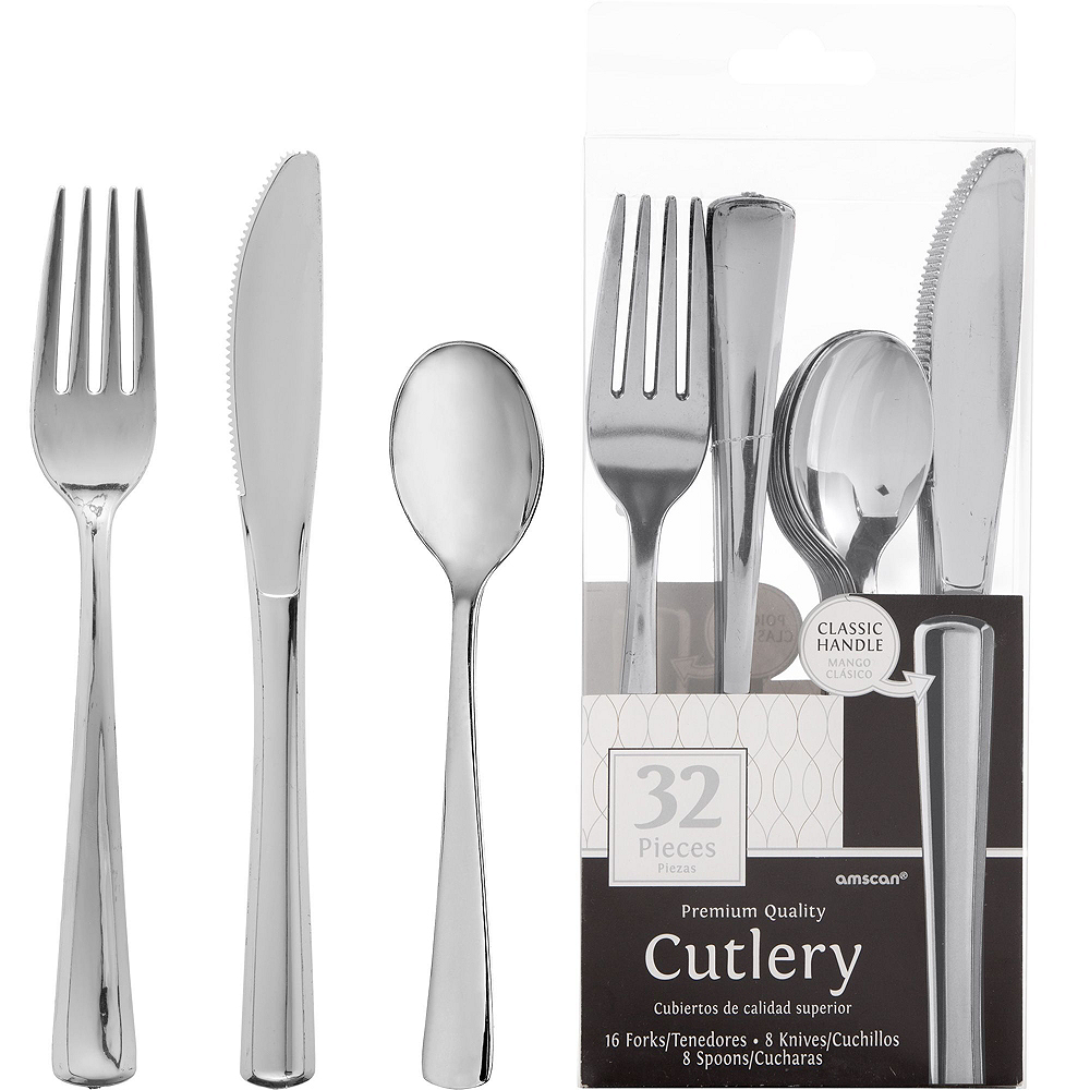 Metallic Silver 25th Anniversary Tableware Kit for 50 Guests Image #5