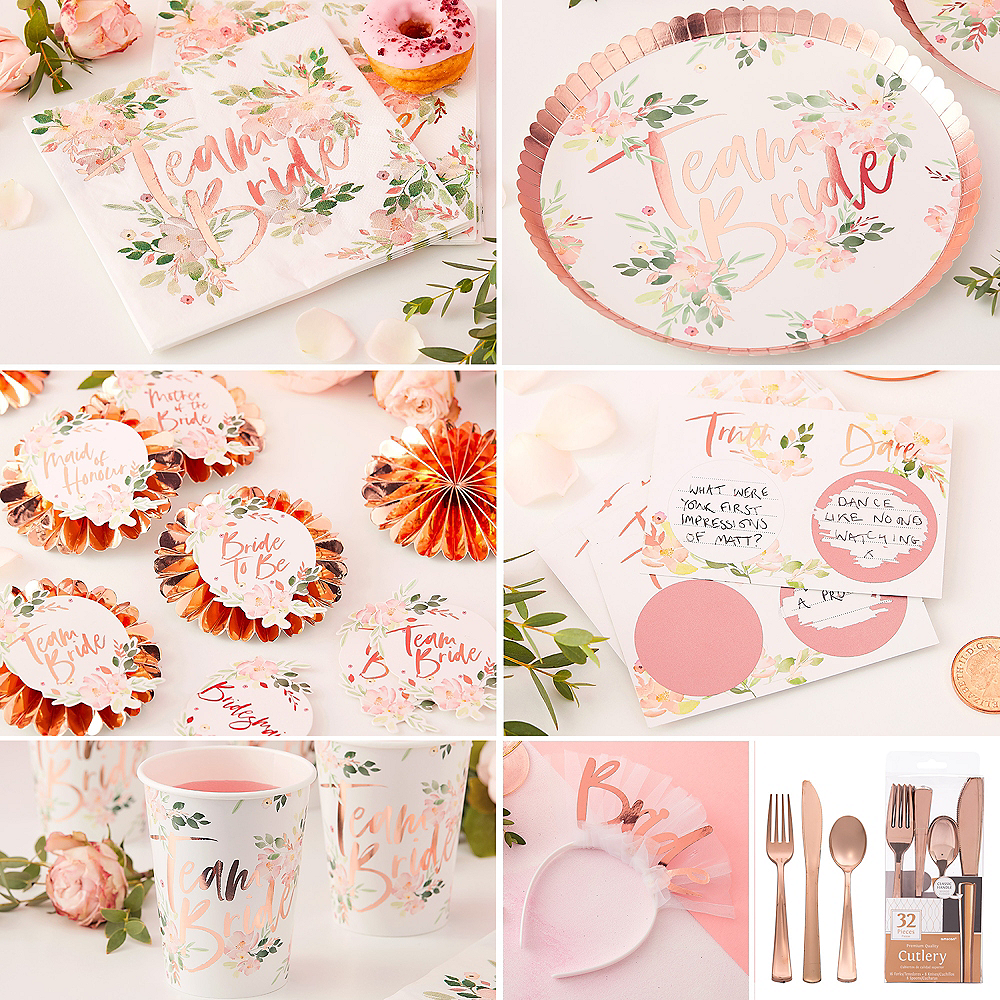 Metallic Rose Gold Floral Bridal Shower Party Kit Party City