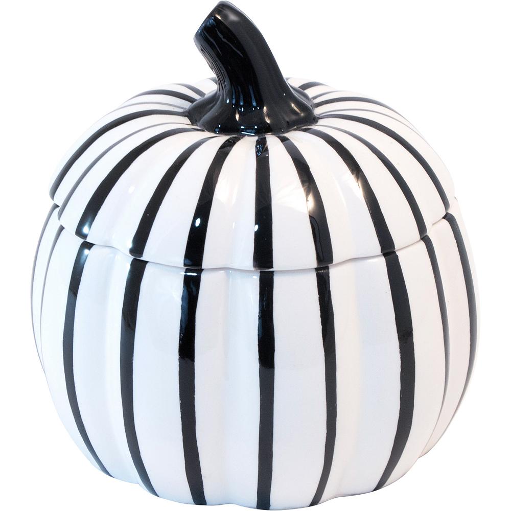 Small Black & White Pumpkin Jar Image #1