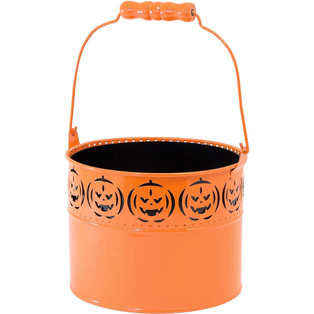 Orange Jack-o'-Lantern Metal Pail Image #1