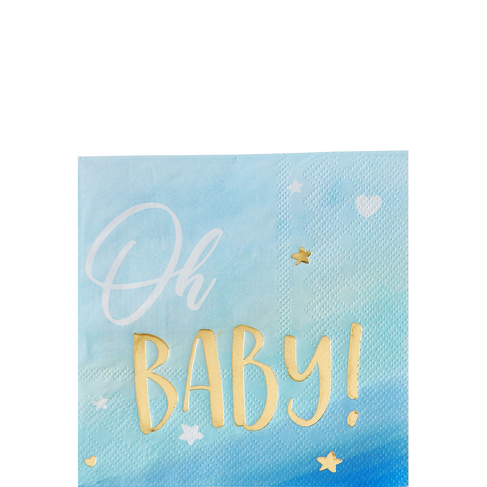 Blue & Metallic Gold Oh Baby Boy Baby Shower Kit for 16 Guests Image #4