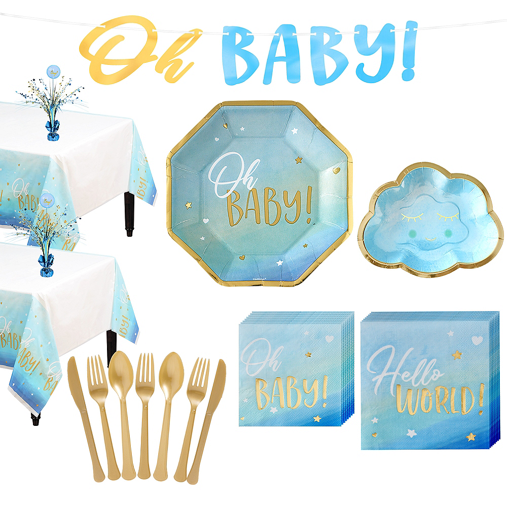 Blue & Metallic Gold Oh Baby Boy Baby Shower Kit for 32 Guests Image #1