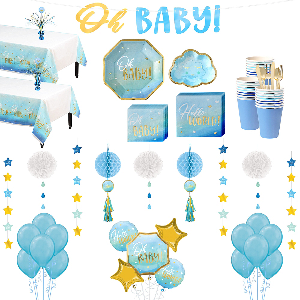 Blue & Metallic Gold Oh Baby Boy Premium Baby Shower Kit for 32 Guests Image #1