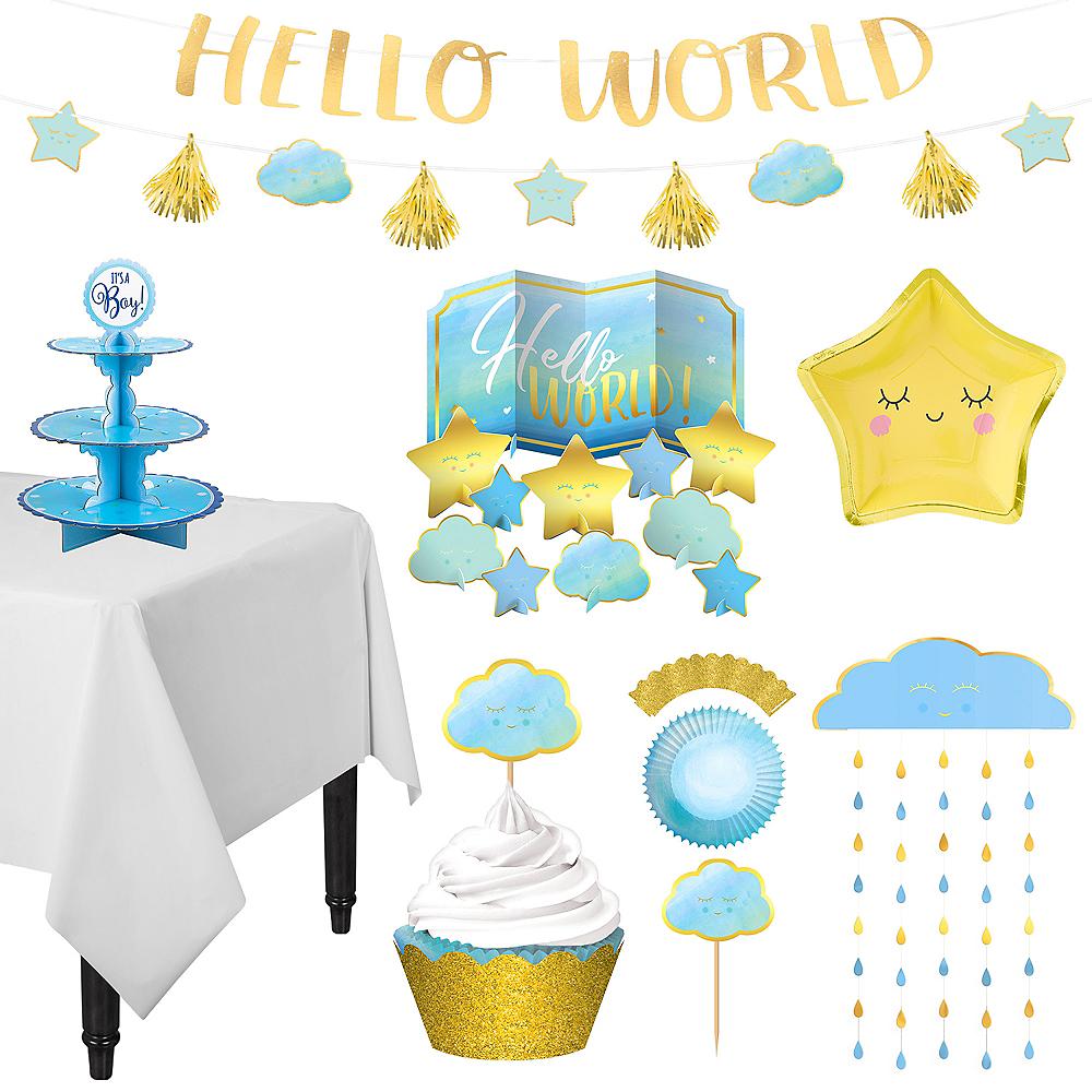 Blue & Metallic Gold Oh Baby Boy Treat Table Decorating Kit 13pc Image #1