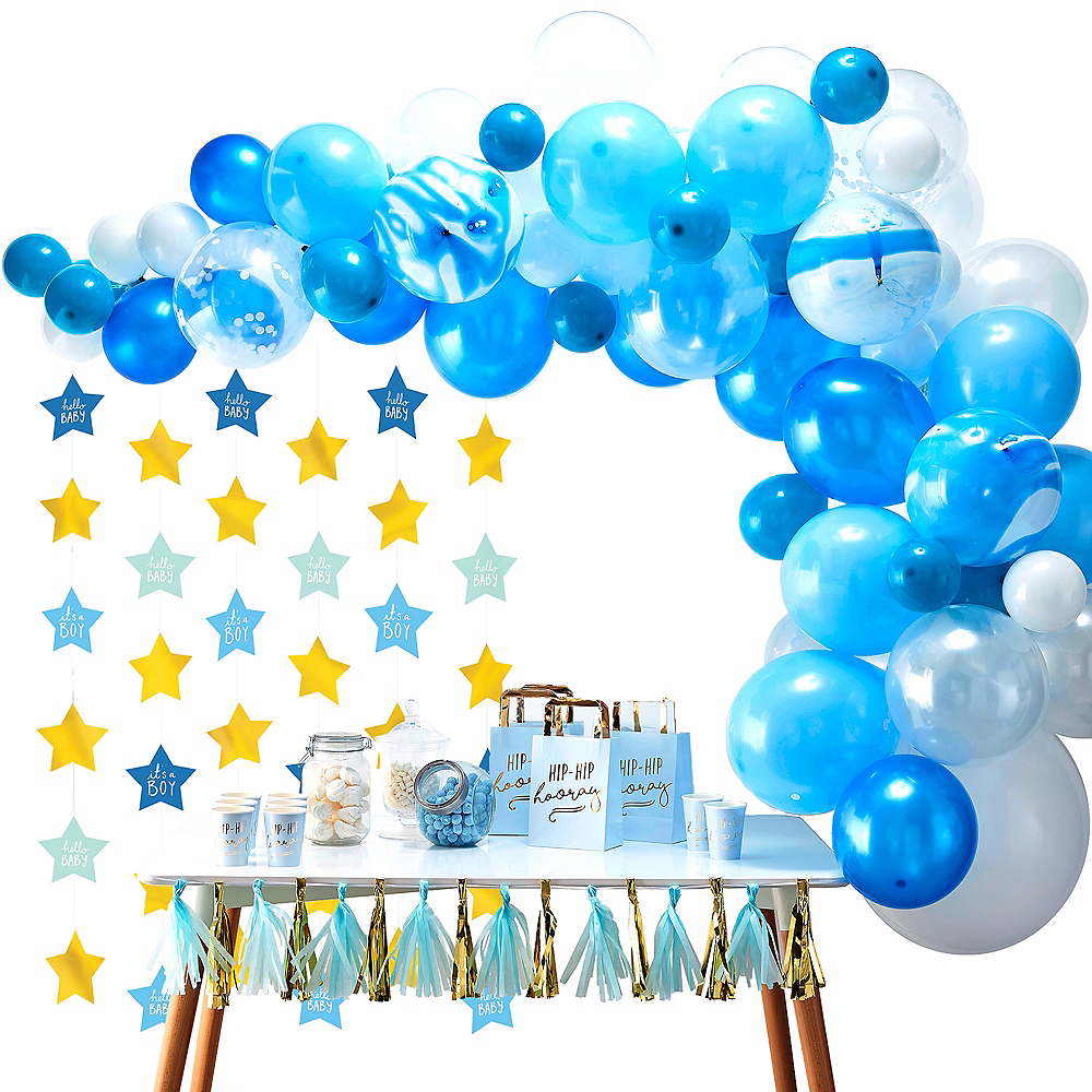 Blue & Metallic Gold Oh Baby Boy Balloon Arch Kit 3pc Image #1