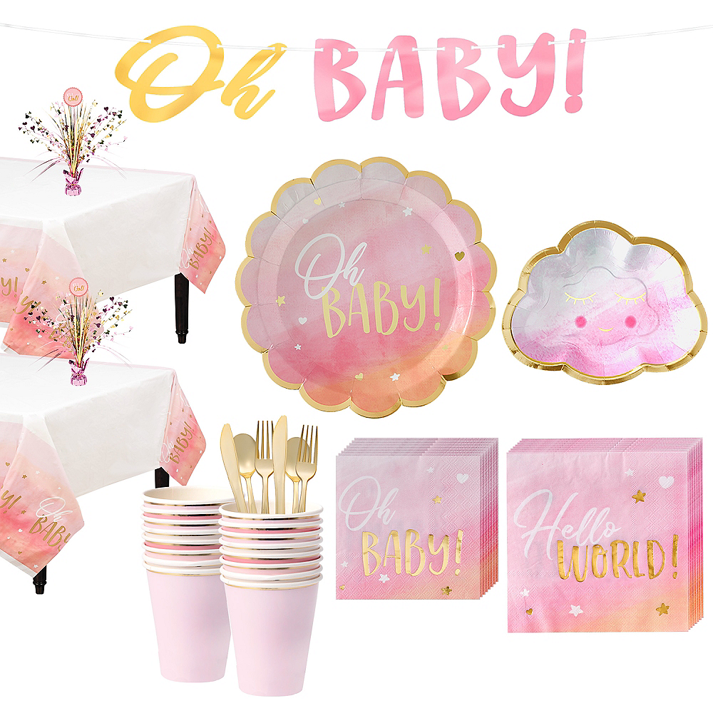 Metallic Gold Pink Oh Baby Girl Baby Shower Kit For 16 Guests Party City