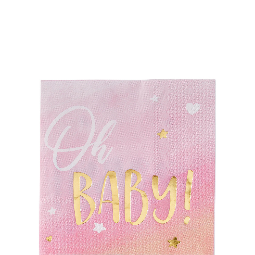 Metallic Gold & Pink Oh Baby Girl Baby Shower Kit for 16 Guests Image #4