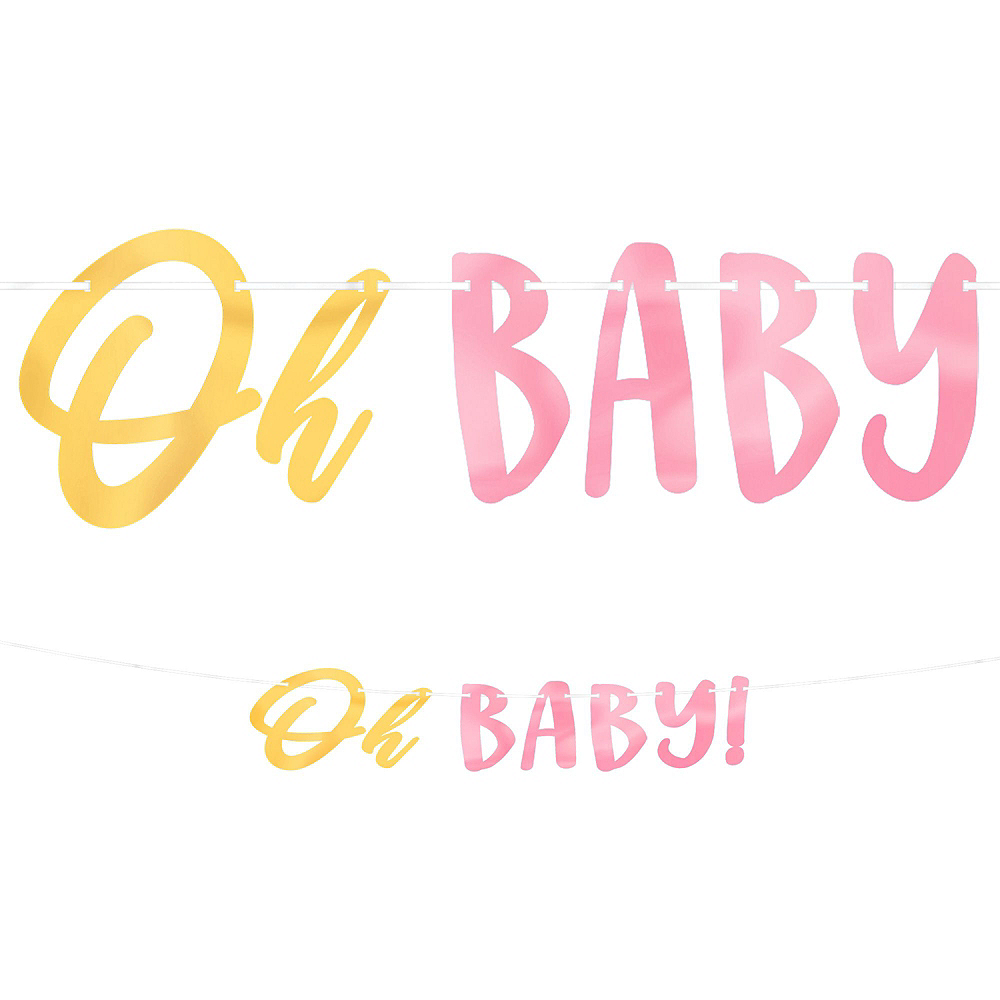 Metallic Gold & Pink Oh Baby Girl Baby Shower Kit for 16 Guests Image #10