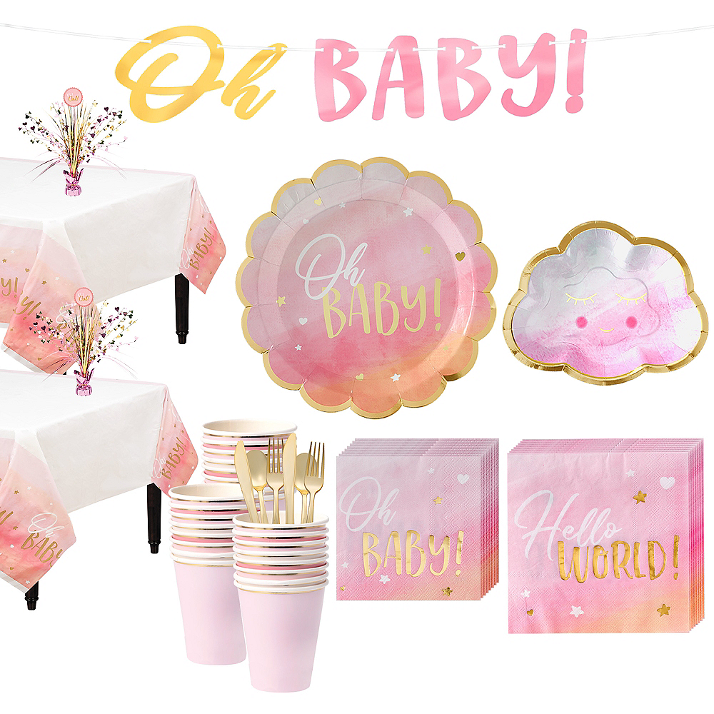 Metallic Gold & Pink Oh Baby Girl Baby Shower Kit for 32 Guests Image #1
