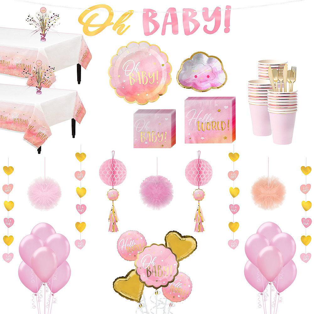 Metallic Gold & Pink Oh Baby Girl Premium Baby Shower Kit for 32 Guests Image #1
