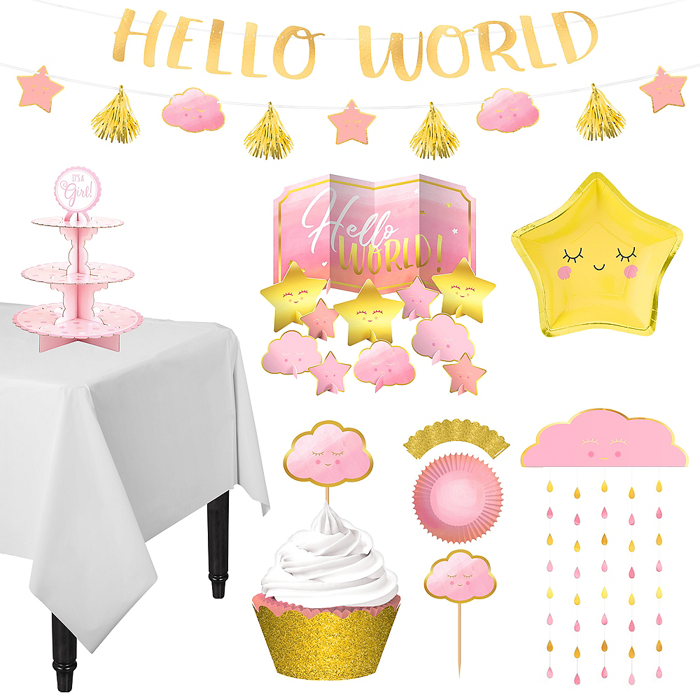 Metallic Gold & Pink Oh Baby Girl Treat Table Decorating Kit 13pc Image #1
