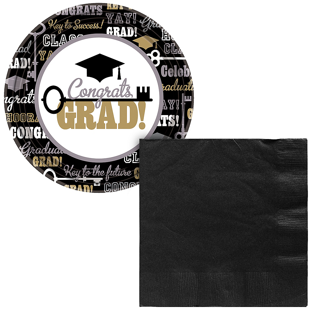 Black, Gold, & Silver Key to Success Graduation Lunch Tableware Combo Pack for 60 Guests Image #1
