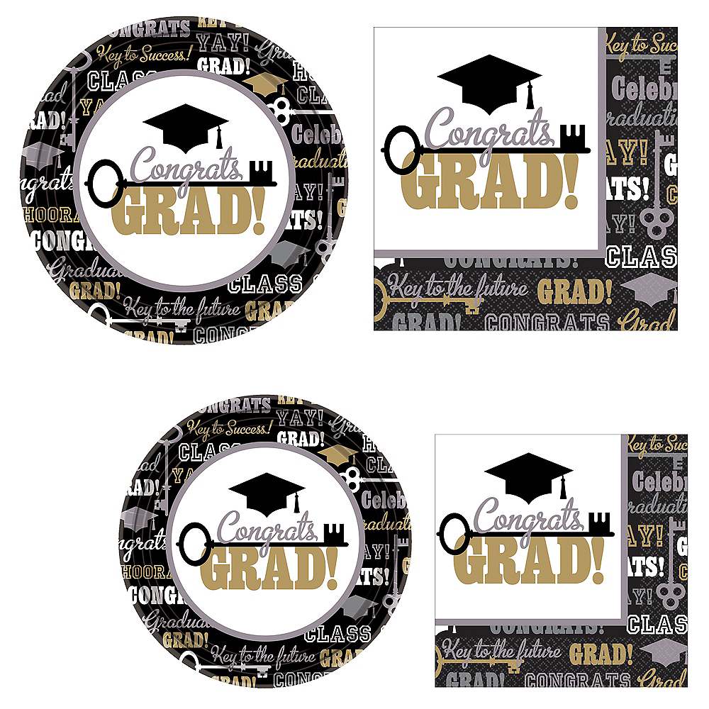 Black, Gold, & Silver Key to Success Graduation Tableware Combo Pack for 60 Guests Image #1