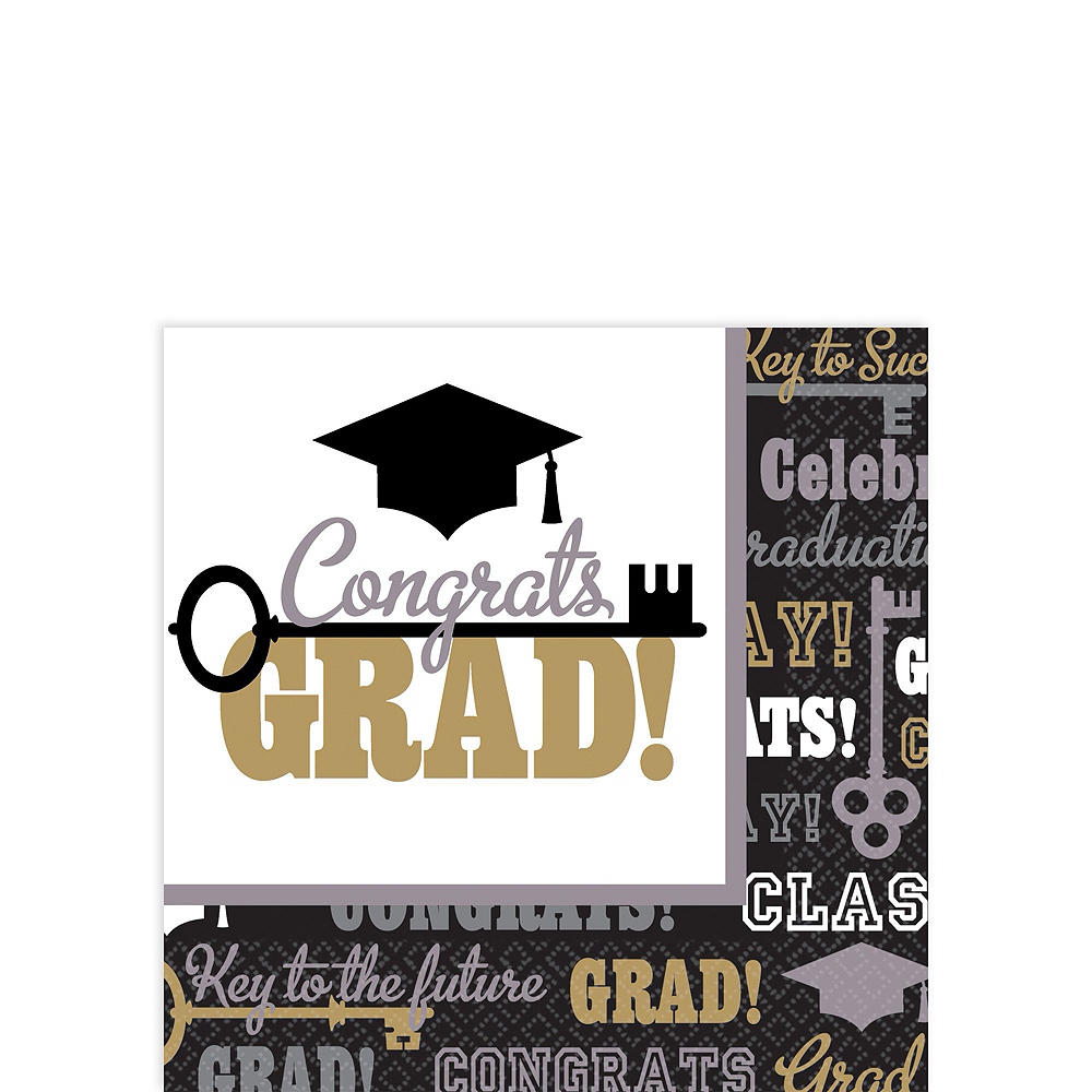 Black, Gold, & Silver Key to Success Graduation Tableware Combo Pack for 60 Guests Image #4