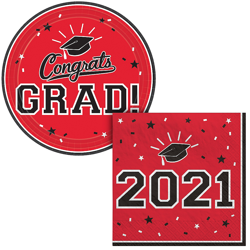 Red Congrats Grad Lunch Tableware Combo Pack for 18 Guests Image #1