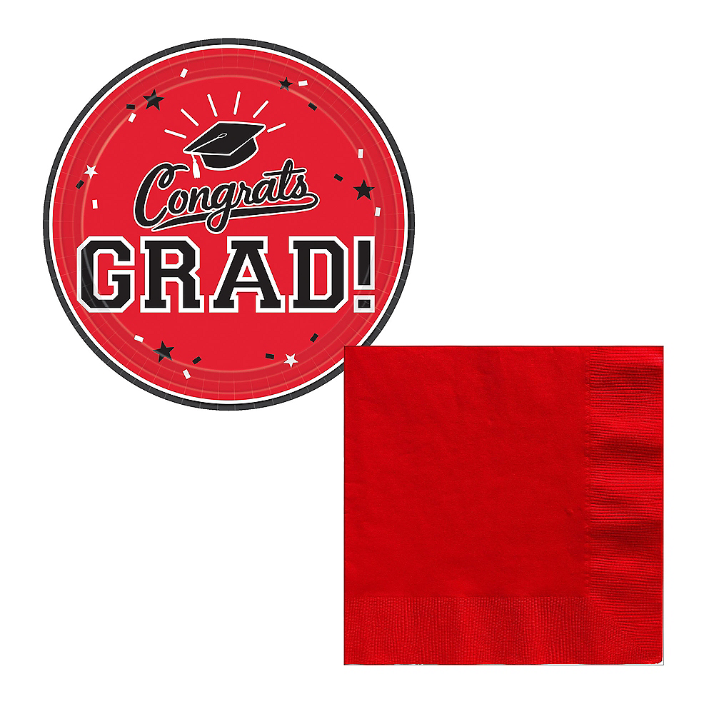 Red Congrats Grad Dessert Tableware Combo Pack for 18 Guests Image #1