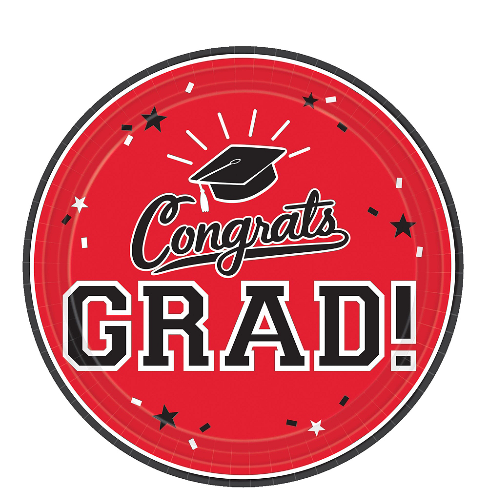 Red Congrats Grad Dessert Tableware Combo Pack for 18 Guests Image #2