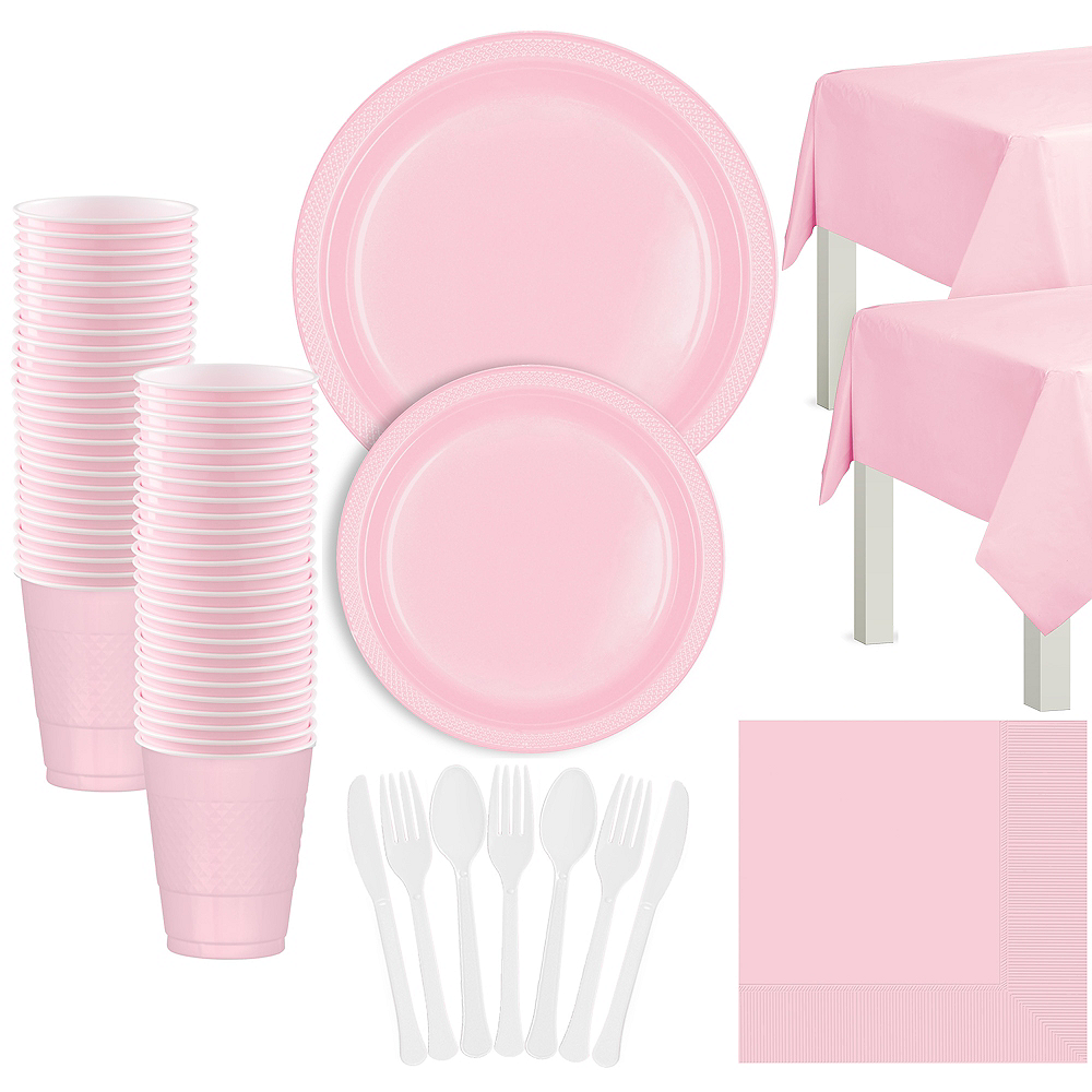 Blush Pink Plastic Tableware Kit for 50 Guests Image #1