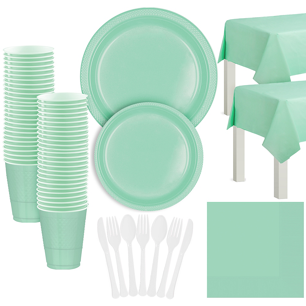 Cool Mint Plastic Tableware Kit for 50 Guests Image #1