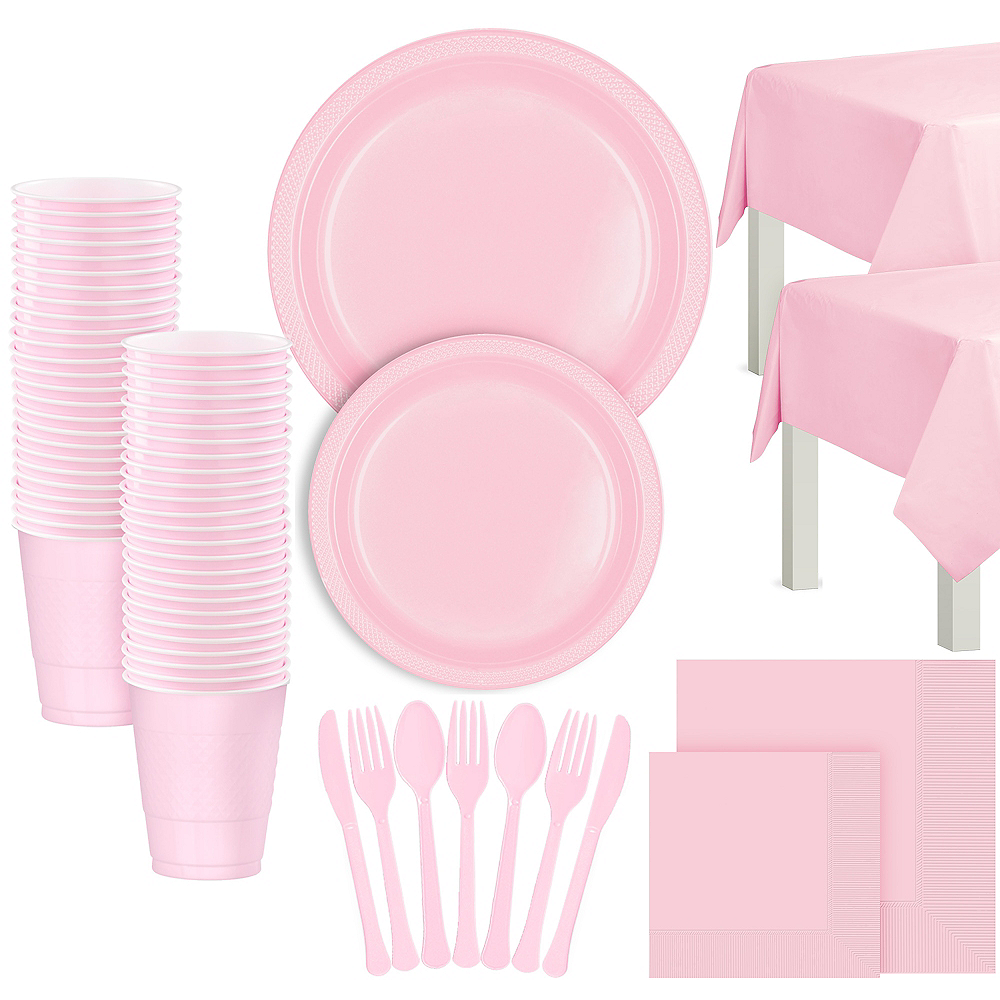 Nav Item for Blush Pink Plastic Tableware Kit for 100 Guests Image #1