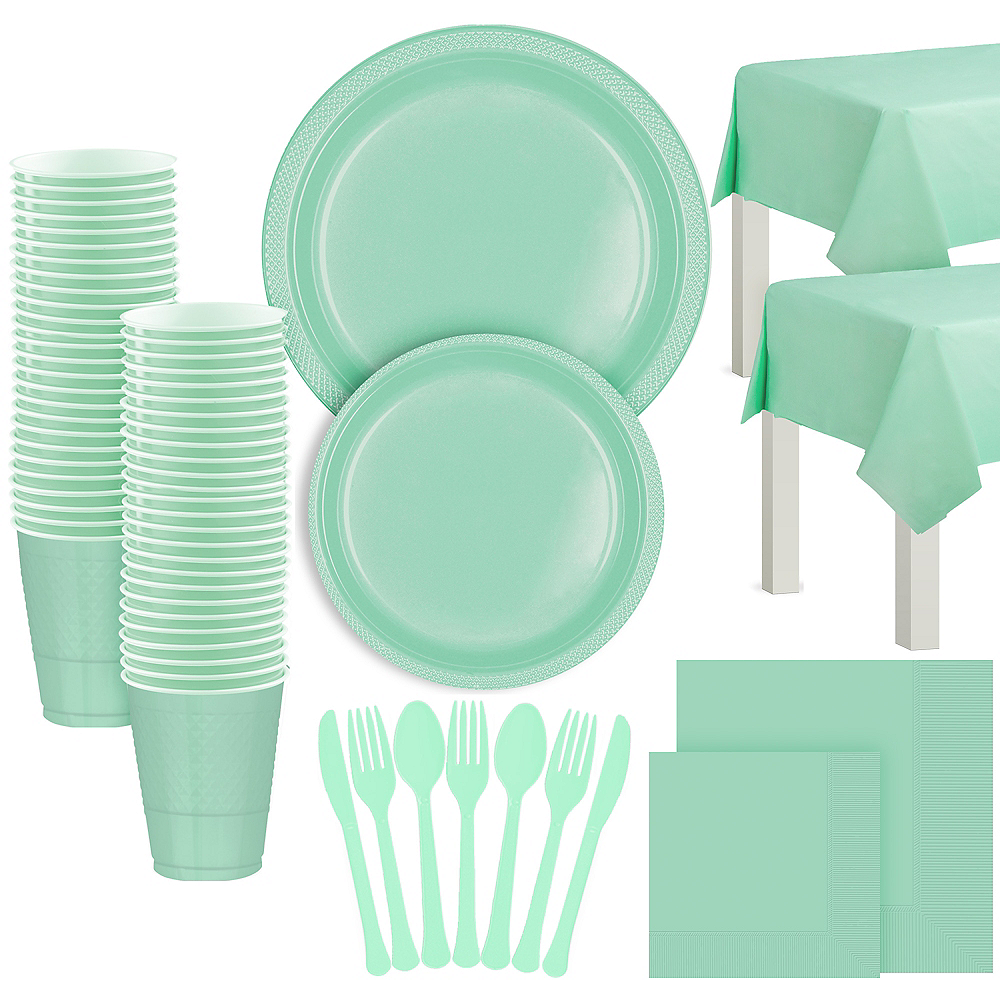 Cool Mint Plastic Tableware Kit for 100 Guests Image #1
