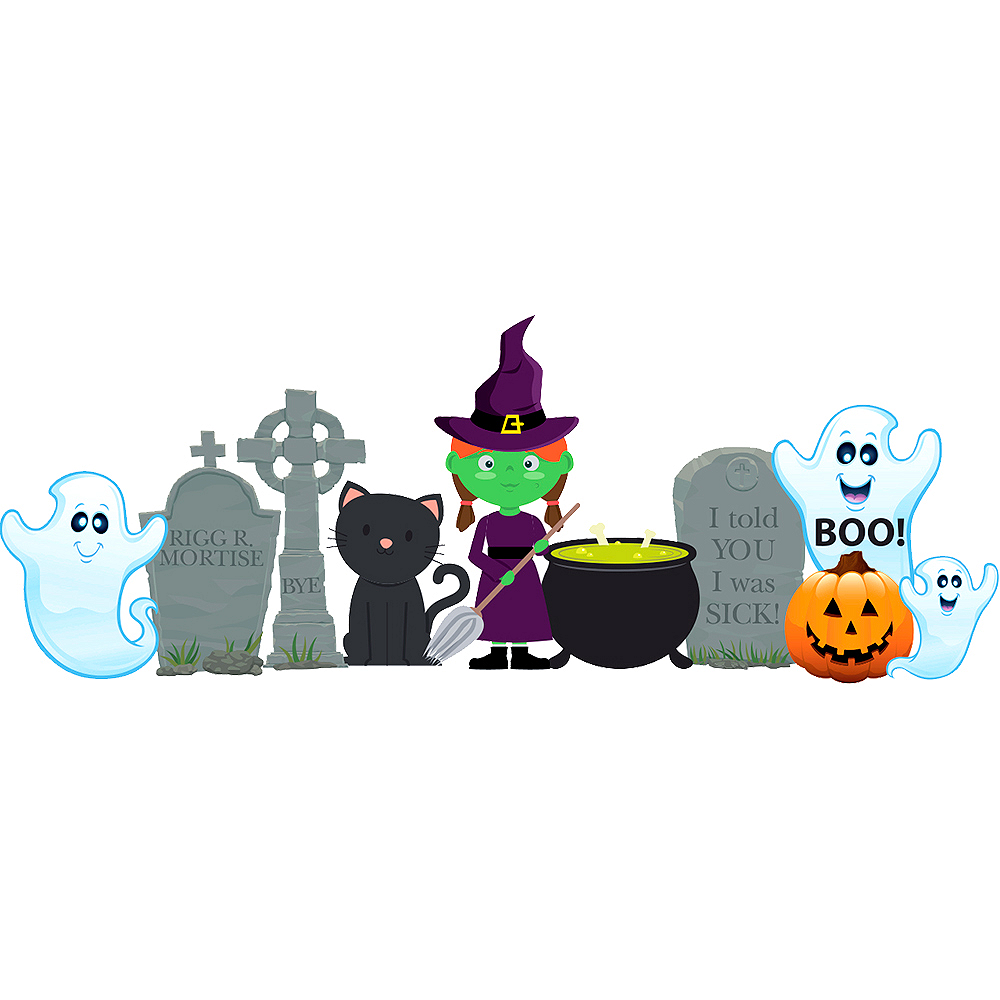 Ghosts & Witch Outdoor Decor Set 10pc Image #1