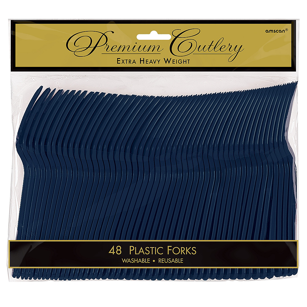 True Navy Premium Plastic Forks 48ct Image #1
