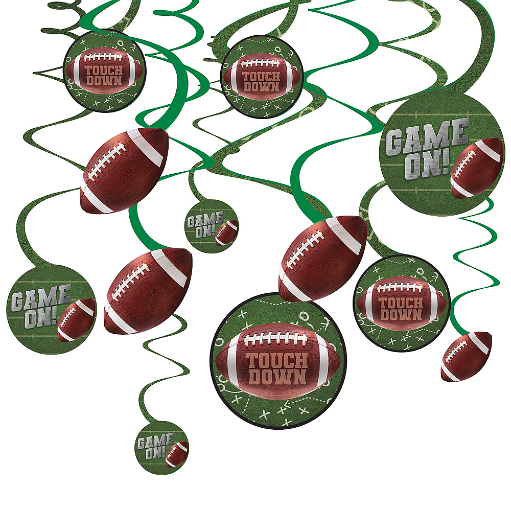 Go Fight Win Football Swirl Decorations 12ct Image #1