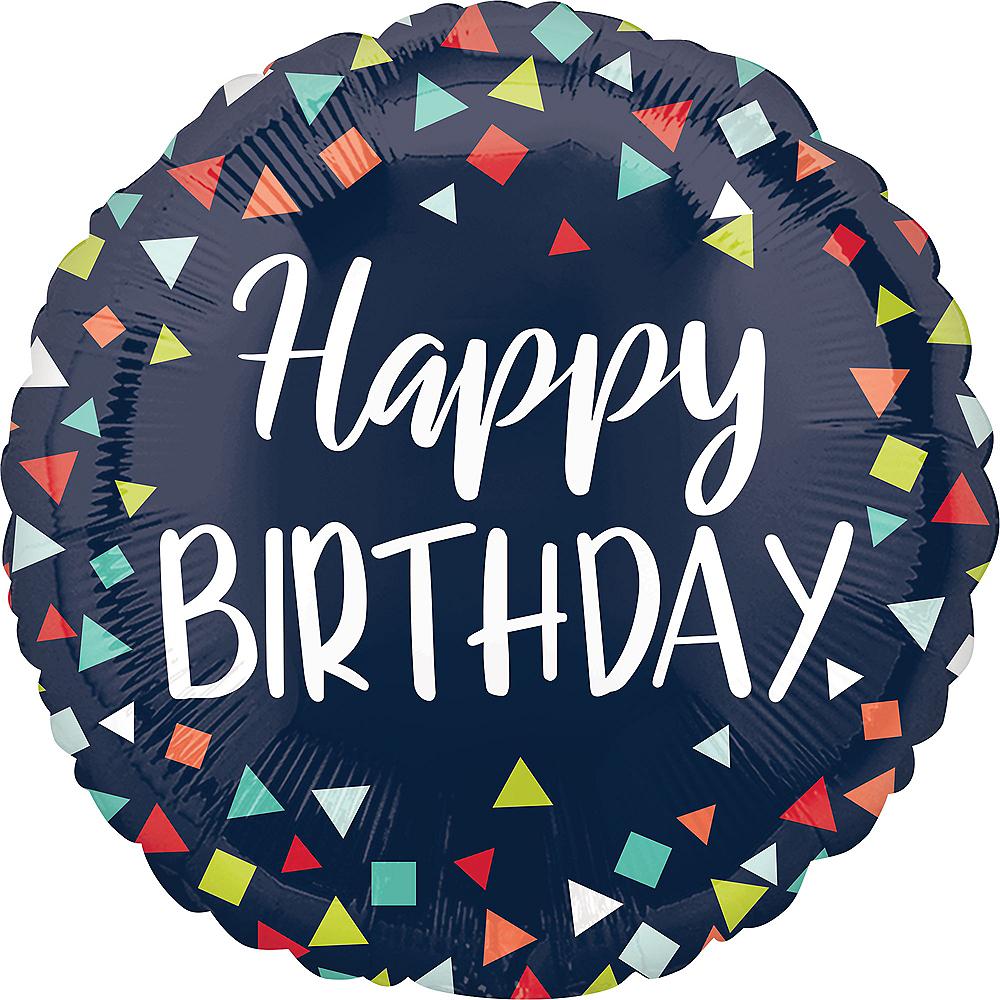 Navy Confetti Happy Birthday Balloon Image #1