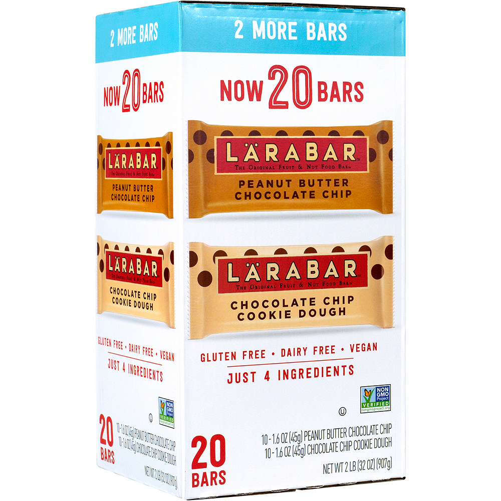 Larabar Chocolate Chip Cookie Dough & Peanut Butter Chocolate Chip Variety Pack 20ct Image #1