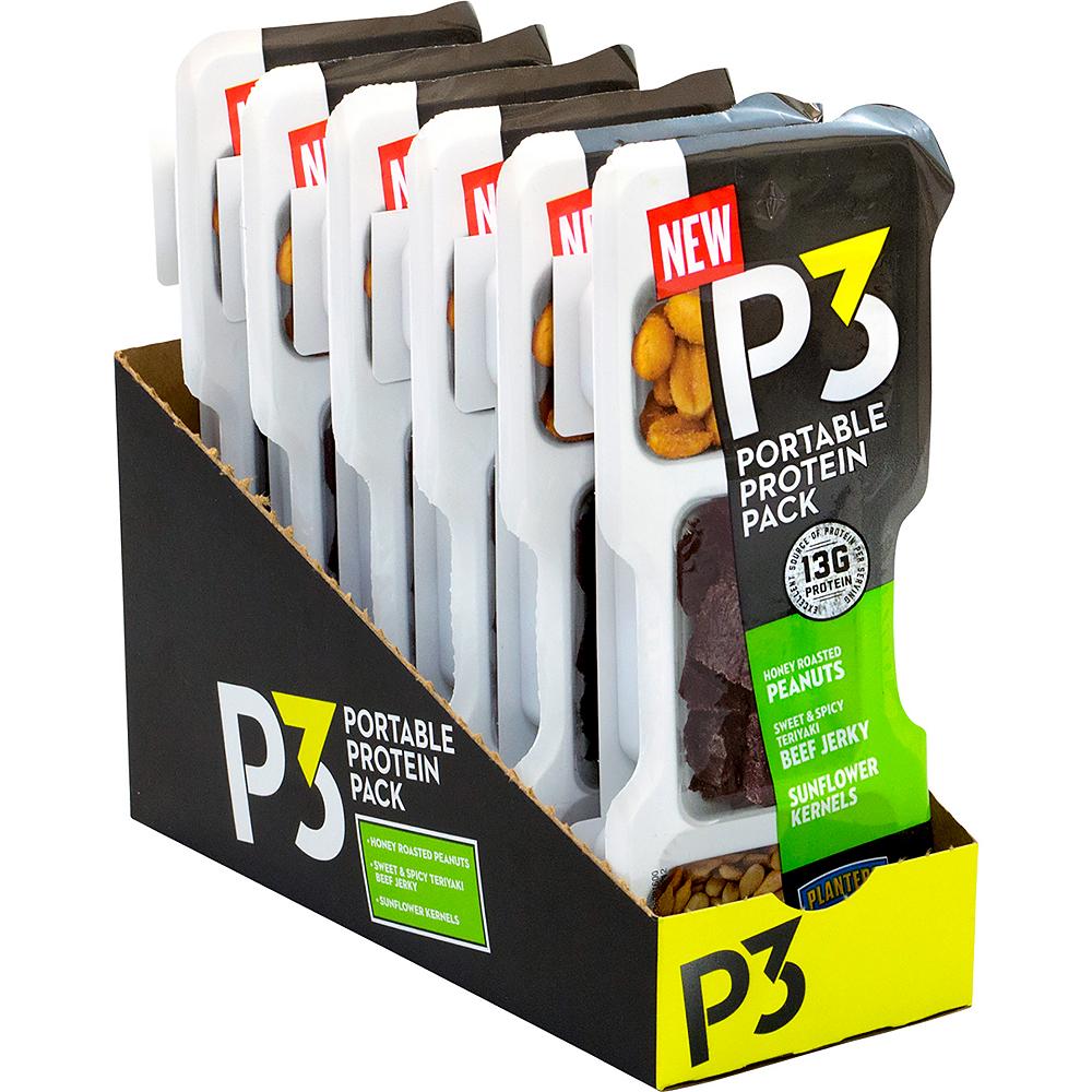 Planters P3 Honey Roasted Peanuts, Sweet & Spicy Teriyaki Beef Jerky, Sunflower Kernel Portable Protein Packs 6ct Image #1