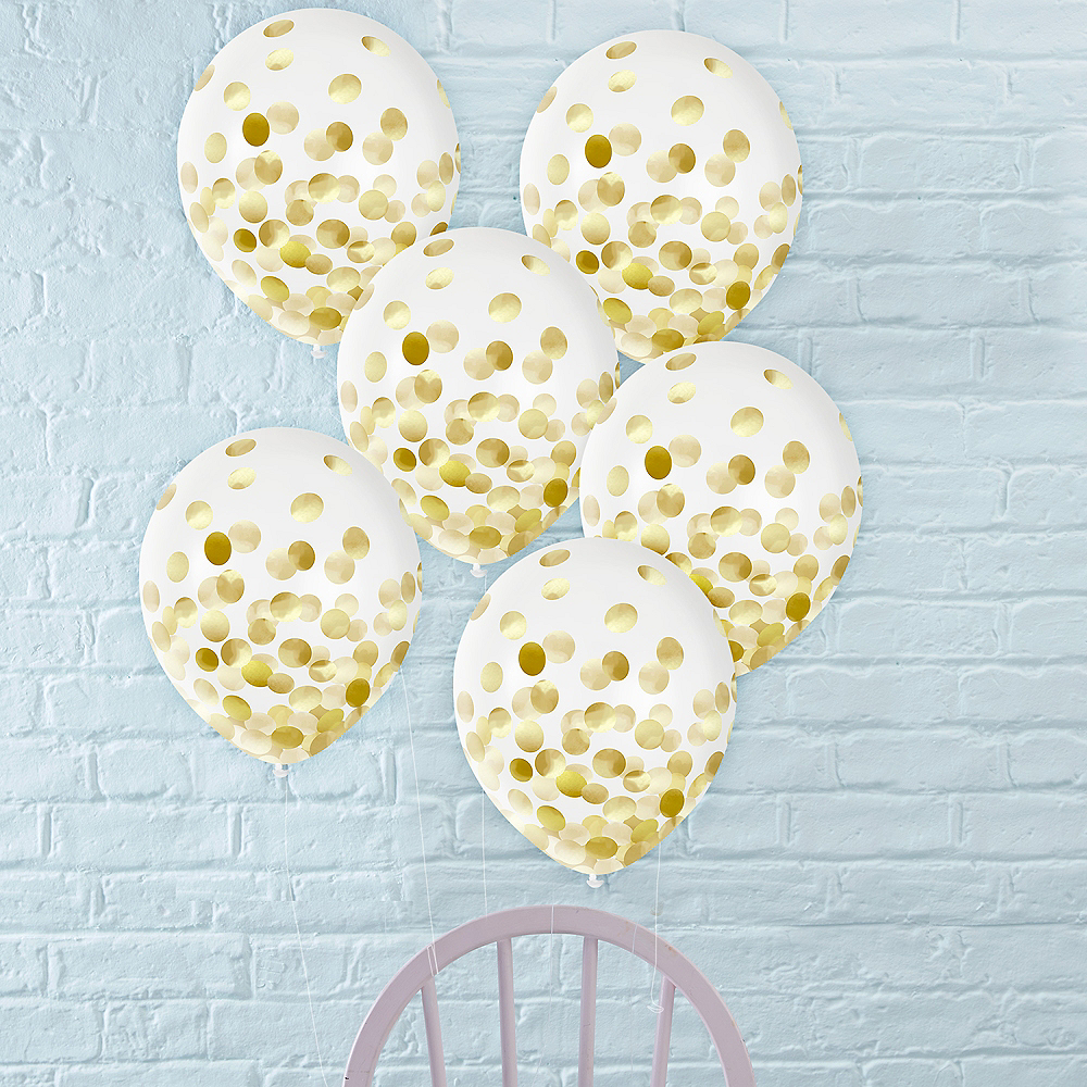 Metallic Gold Confetti Balloons, 12in, 6ct Image #1