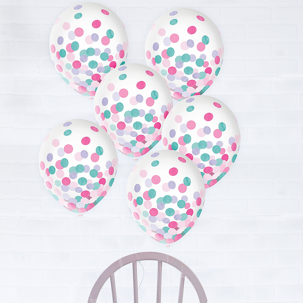 Lavender, Pink & Turquoise Confetti Balloons, 12in, 6ct Image #1