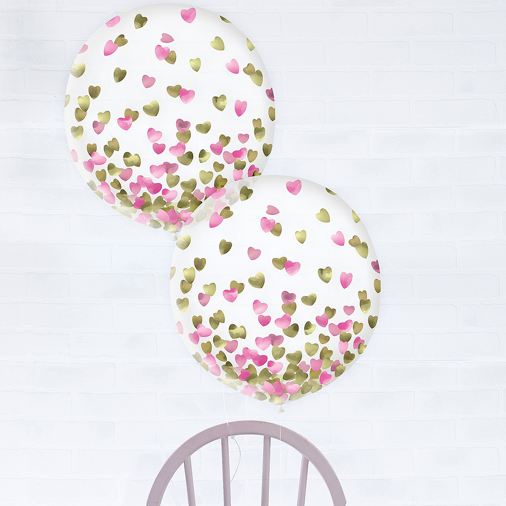 Metallic Gold & Pink Heart Confetti Balloons, 24in, 2ct Image #1