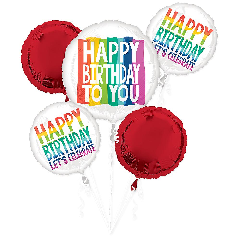 Rainbow Wish Birthday Balloon Bouquet 5pc Image #1