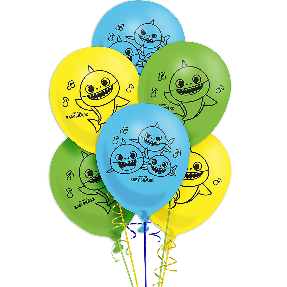 Baby Shark Latex Balloons 6ct Image #1