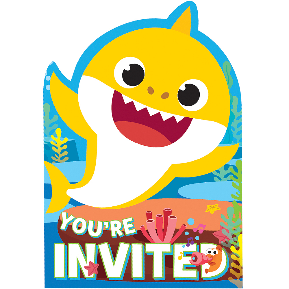 Baby Shark Invitations 8ct Image #1