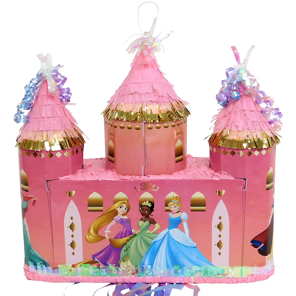 Metallic Gold Pull String Disney Princess Castle Pinata Image #1