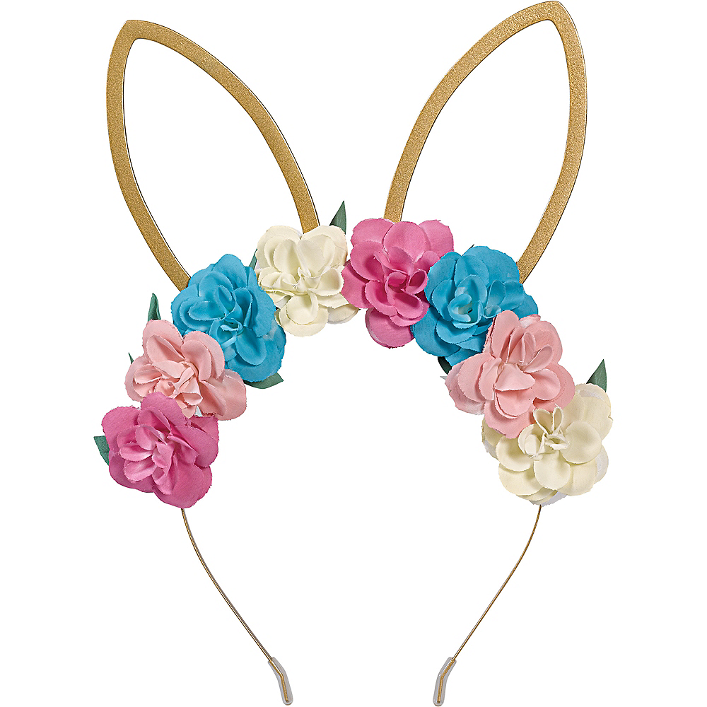 Floral Gold Bunny Ears Headband Image #1