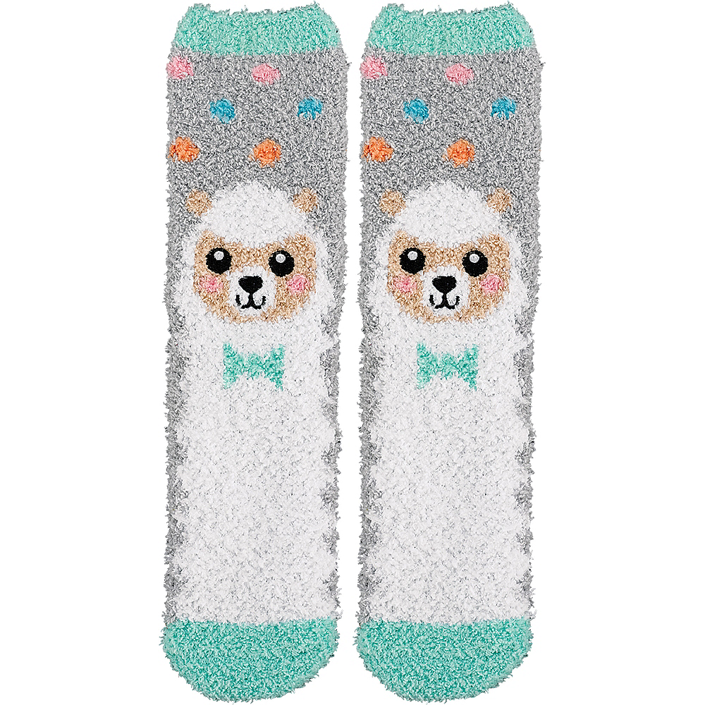 Adult Smiling Spring Lamb Fuzzy Socks Image #1
