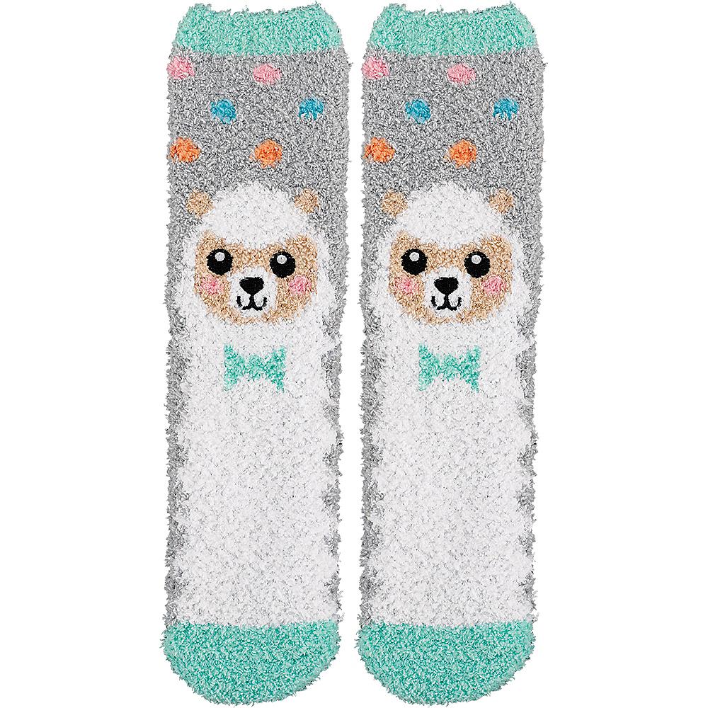 Adult Smiling Spring Lamb Fuzzy Socks Image #1