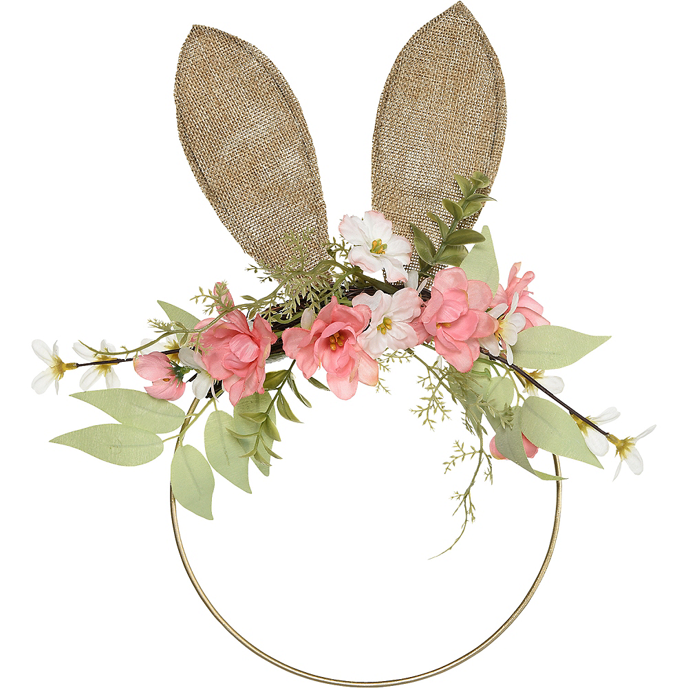 Burlap Ears Floral Easter Wreath Image #1