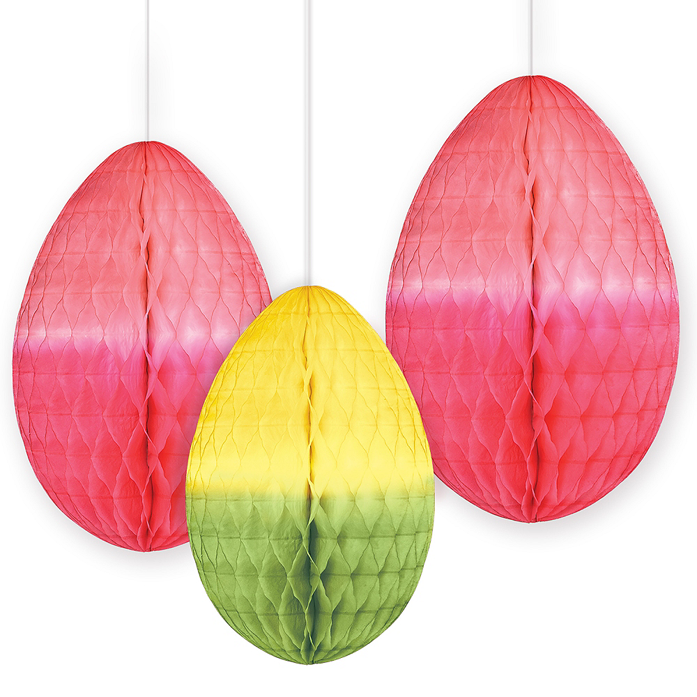 Easter Egg Honeycomb Decorations 3ct Image #1