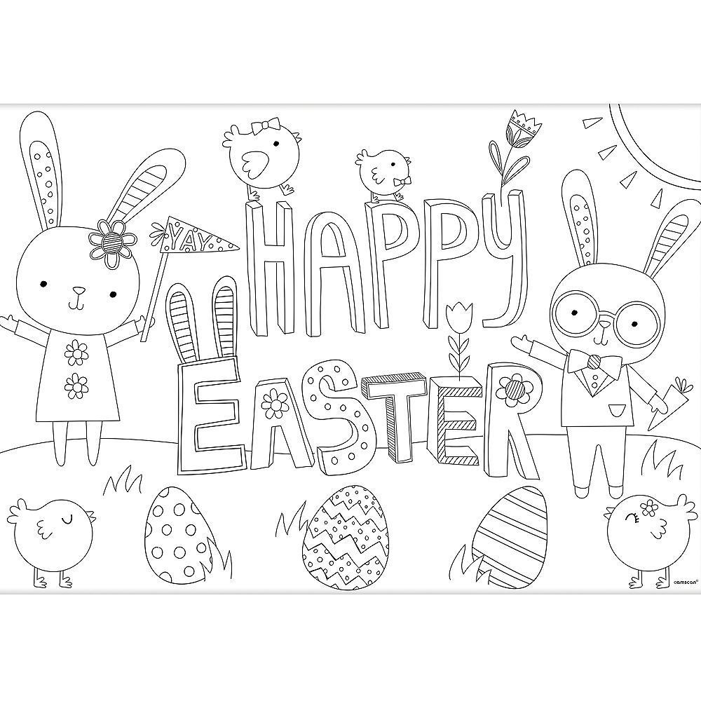 Hello Bunny Easter Coloring Placemats 24ct Image #2