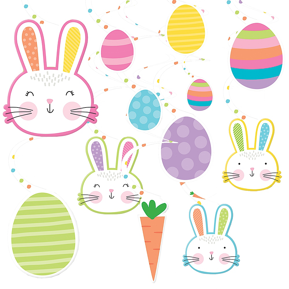 Hello Bunny Easter Swirl Decorations 30ct Image #1