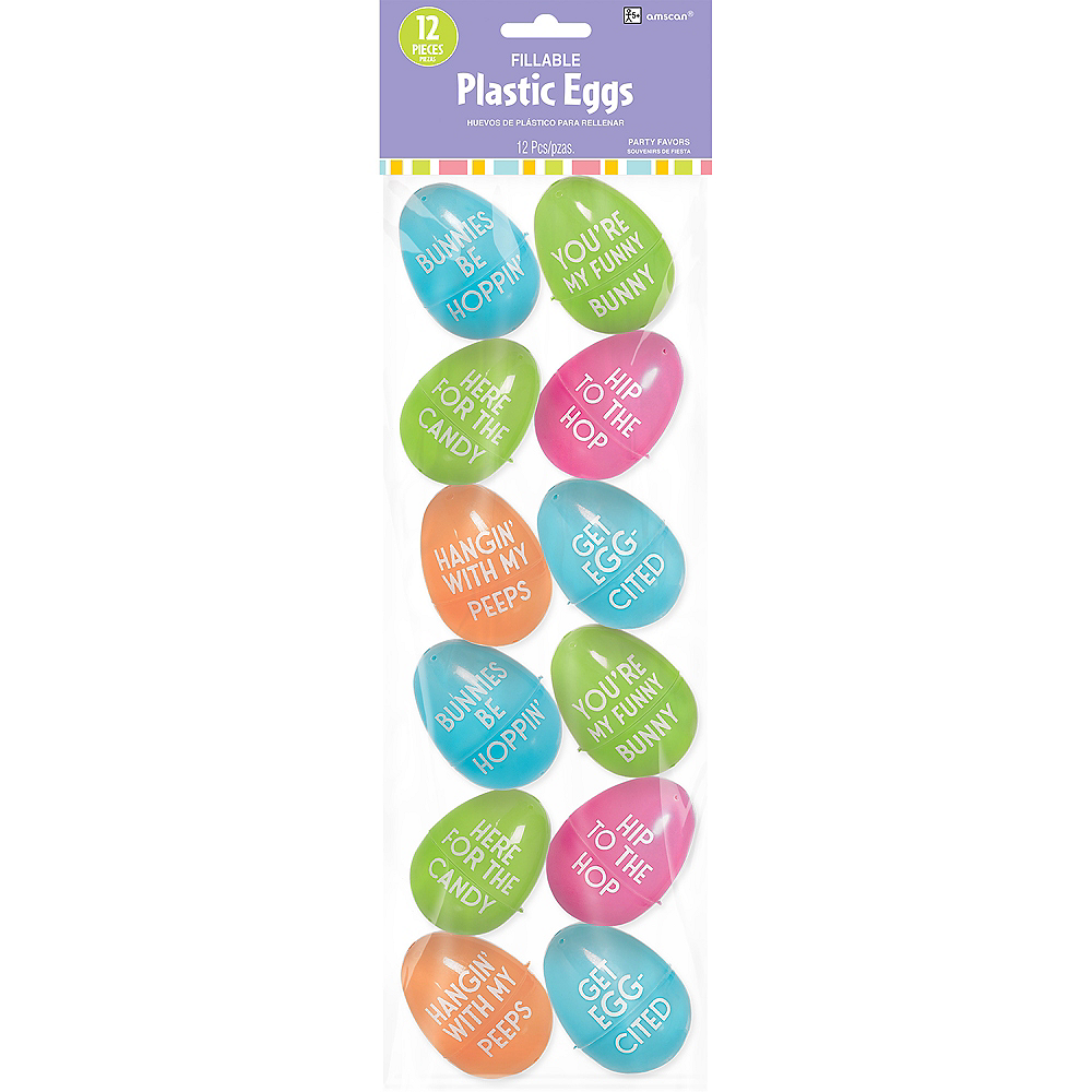 Funny Phrases Fillable Easter Eggs 12ct Image #1