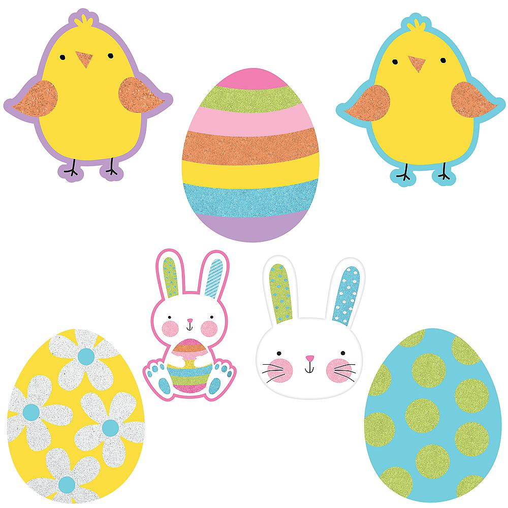 Glitter Hello Bunny Mini Easter Cutouts 10ct Image #1